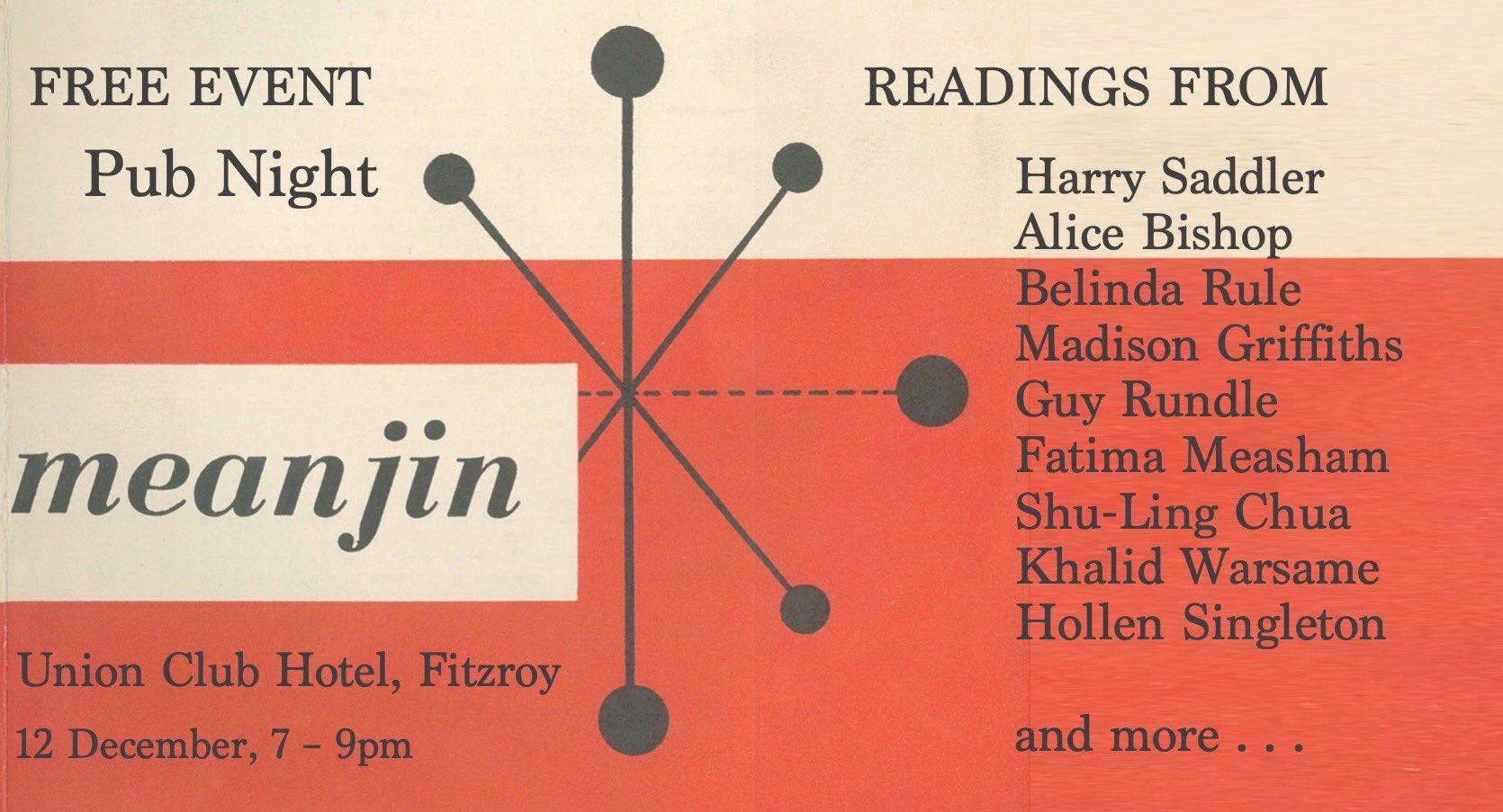 Meanjin Pub Night flyer